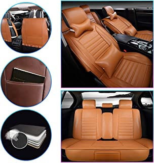 SureMart Car Seat Covers for Infiniti QX30 QX50 QX70 Q50 Q60 Q70 Q50L Q70L Luxury All Weather Protection Leatherette Car Front and Rear Seat Protector Airbag Compatible Orange