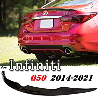 Optimal Co Painted Glossy Black Rear Trunk Spoiler Wing Compatible with Infiniti Q50 2014-2021 Luxe Edition Sport Red Sport 400 Q50S 2015 2016 2017 2018 2019 2020