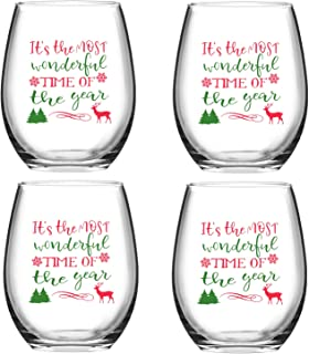 It's the Most Wonderful Time of the Year Christmas Reindeer Wine Glass, 15 Oz Funny Stemless Wine Glasses for Women Friends Men, Gift Idea for Christmas Wedding Party, Set of 4