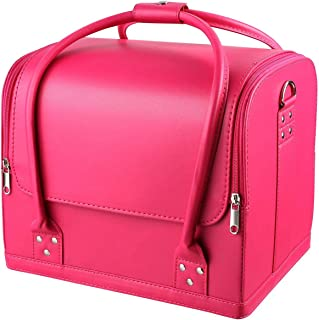 SODIAL Pink Makeup Train Case 3 Layer Makeup Organizer Bag with Shoulder Strap Adjustable Dividers for Cosmetics Makeup Brushes Toiletry Jewelry