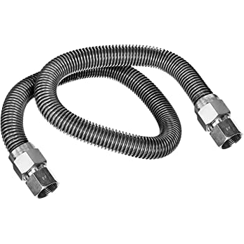 Black//Stainless Steel Flextron FTGC-BC14-30J 30 Flexible Epoxy Coated Gas Line Connector with 3//8 Outer Diameter and 3//8 Fip x 1//2 Mip Fittings