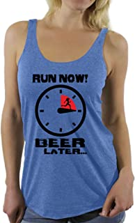 Awkward Styles Women's Run Now Beer Later Funny Running Graphic Racerback Tank Tops