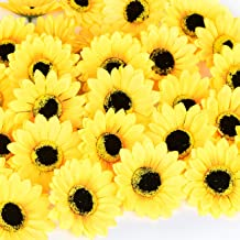 "KINWELL 50pcs Large Artificial Silk Yellow Sunflower Heads 4"" Fabric Floral for Home Decoration Wedding Decor, Bride Holdi..."