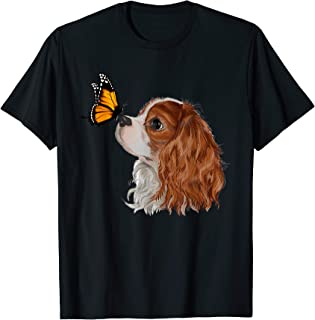 Cavalier King Charles Spaniel With Butterfly Dog Lover Gifts T-Shirt