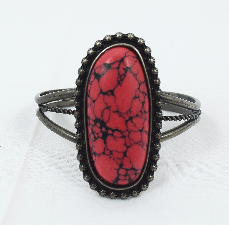 Skelapparel Western Style Chunky Red Stone Cuff Bracelet