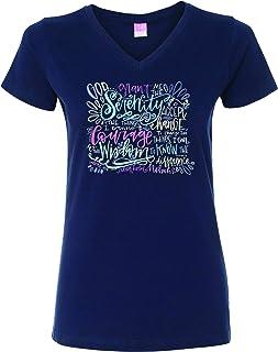 Trenz Shirt Company Christian Serenity Prayer Women's V-Neck Fine Jersey Tee