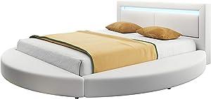 muebles bonitos Cama de Matrimonio Redonda Caren en Color Blanco (180x200cm) luz Led