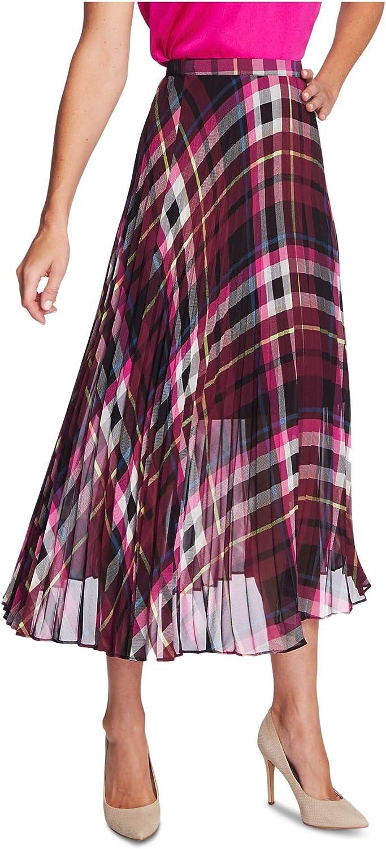 Vince Camuto Womens Plaid Pull On Pleated Skirt