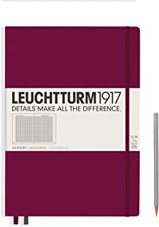 Leuchtturm1917 Master Slim Hardcover Squared Notebook- 121 Numbered Pages, Port Red