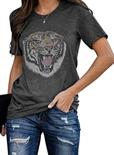 AlvaQ Womens Summer Casual Crewneck Short Sleeve Tops Graphic Print Shirts S-XXL