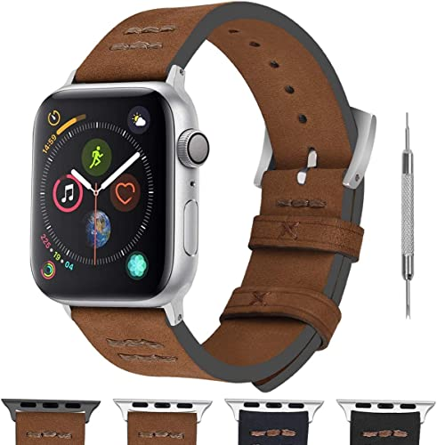 wholesale Fullmosa Apple Watch Band Compatible for Apple Watch SE & Series 6/5/4/3/2/1,Fuma online sale Suede Vintage Hand-Stitched iWatch Band for Apple Watch online sale 38mm 42mm 40mm 44mm sale