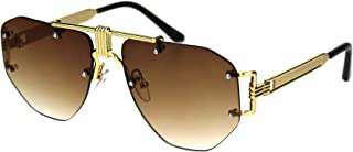 Mens Luxury Rimless Mobster Metal Rim Fashion Sunglasses