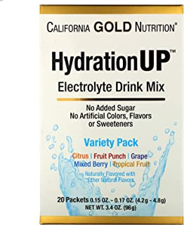 California Gold Nutrition HydrationUP, Electrolyte Drink Mix, Variety Pack, 20 Packets, 0.15 oz (4.2 g) Each