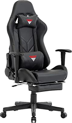 Gaming Chair Computer Office Chair Adjustable Lumbar Cushion Swivel Rocker Recliner Leather High Back Ergonomic Computer Desk Chair with Arms and Retractable Footrest (Black)