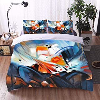 3Pcs Bedding Set 3D Printing Abstract Oil Painting Polyester Duvet Cover And Pillowcases Breathable Easy Care King 220X230...