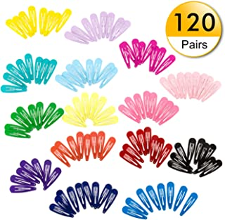 Snap Hair Clips 120pcs Non-Slip Metal Barrettes 2 Inch Colorful Hair Barrettes for Girls Kids and Women