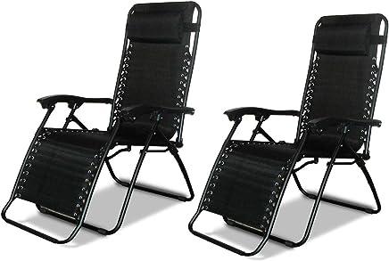 2 x DNY© Textoline Reclining Garden Chair Beach Sun Lounger Recliner Chairs in Tweed Weatherproof Textoline