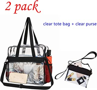 Clear Bag, Clear Tote Bag Stadium Approved for Work, Sports Games, Concerts and Women Men 12 x 12 x 6 & Clear Purse, Clear Bag Stadium Approved, Wrist Strap for Work Sports Games 9.8x7.2 in (2 Pack)