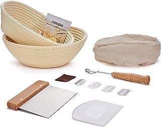 DOVAVA Gärkörbchen Rund & Oval 2er Set, ø25 cm, Gärkorb Brot mit Teigschaber Silikon & Edelstahl, Bäckermesser mit 5 Rasierklinge, Leineneinsatz Liner für Brot und Brotteig - Peddigrohr