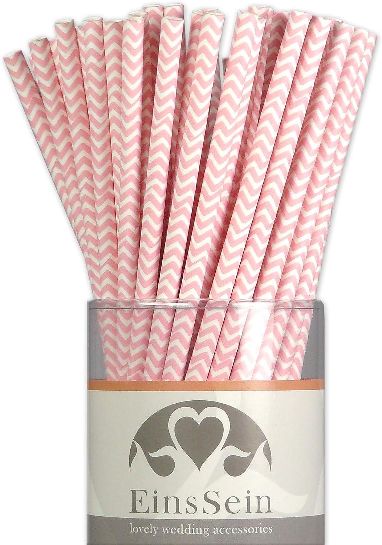 EinsSein 100x Paja de Papel Boda Ondas L 19,5cm Rosa pajitas Fiesta Rosas Desechables Pajita de Oro Comestible Rayas plastico Aluminio cañitas biodegradables Platos comestibles Boda Bodas Colores