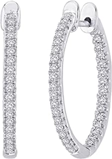 1-5 Carat Total Weight Inside Out Diamond Hoop Earrings Value Collection