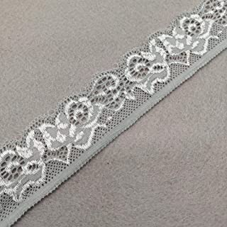 Lace Fabric 10 Yards/Pack Stretch Elastic Ribbon 35MM Wide Soft Trim Lace (Grey)