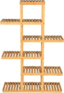 SONGMICS 6-Tier Bamboo Plant Stand, Flower Display Rack, Holds 12 Pots, Hollow-Out Shelving Unit, Indoor Plant Pot Holder, for Living Room, Balcony, Natural UBCB95NL