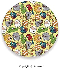 Funny Animals Hippo Giraffe Koala Parrot Crocodile Zoo Jungle Kids Nursery Graphic,Fashion Coasters For Drinks Absorbent Multicolor,3.9×0.2inches(6PCS),Prevent Furniture From Dirty Scratched