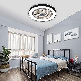 Lámpara de techo con mando a distancia, 36 W, regulable, LED, con ventiladores de techo silenciosos, para dormitorio, salón, comedor, lámpara (negro)