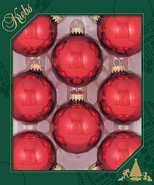 Christmas By Krebs Made in The USA Designer Seamless Glass Christmas Ball Ornaments (Christmas Red)