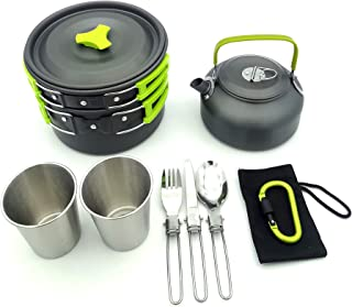 Outdoor supplies camping pots and pans, portable teapot and pot combinations, portable picnic sets-green