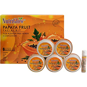 NutriGlow Papaya Facial Kit (260 Gm) | Blemish Free and Fairer Skin | No Parabens & Sulphates