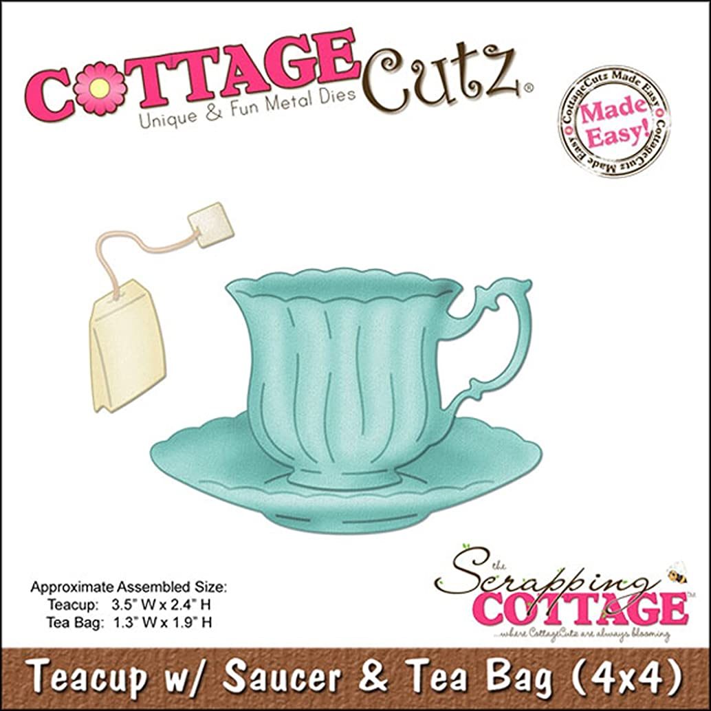 CottageCutz 4X4486 Die Cuts with Foam, 4 by 4-Inch, Teacup with Saucer and Tea Bag Made Easy
