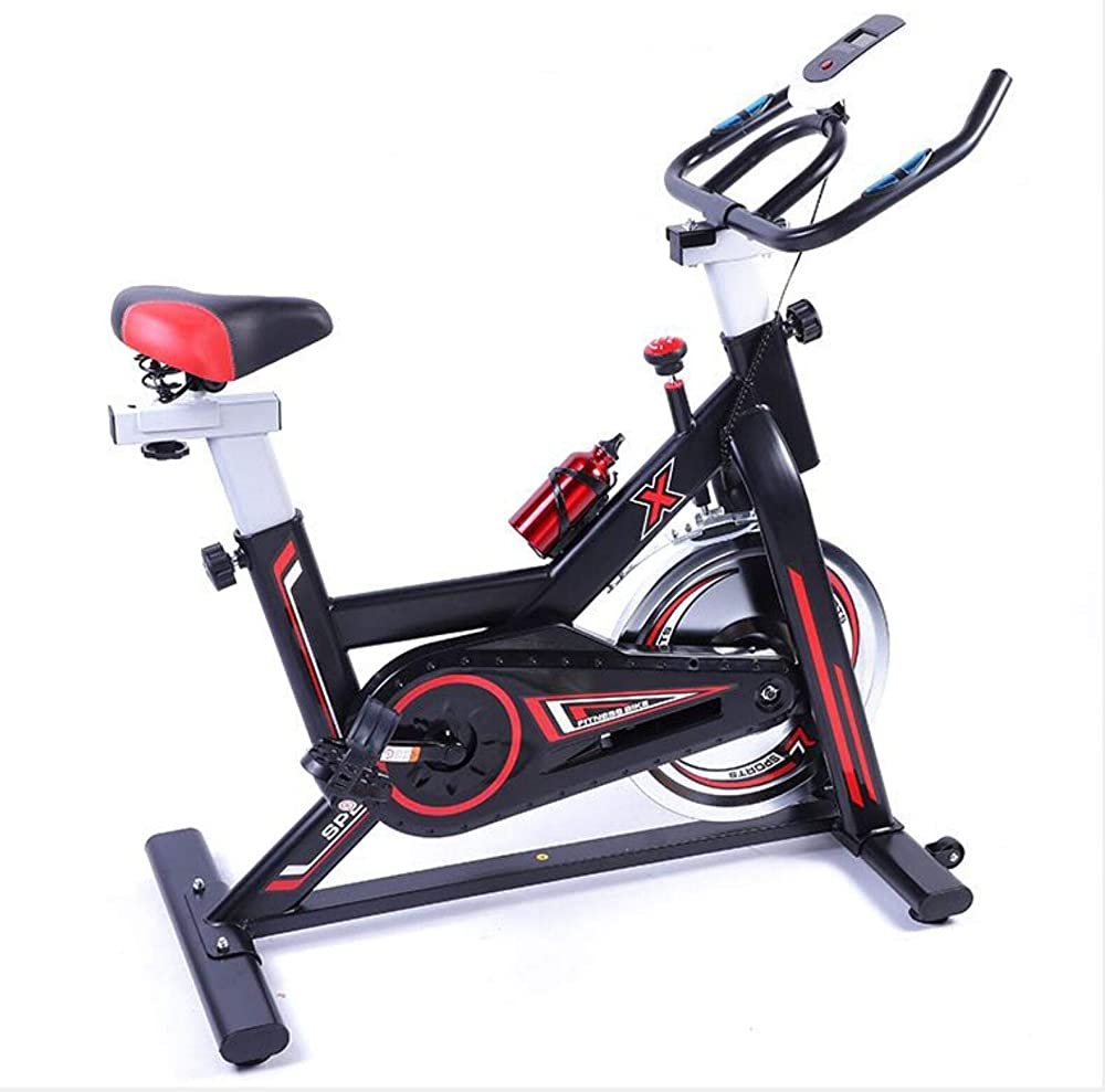 Szfmmy bici cyclette bike fitness da spinning con display lcd colore nero e rosso
