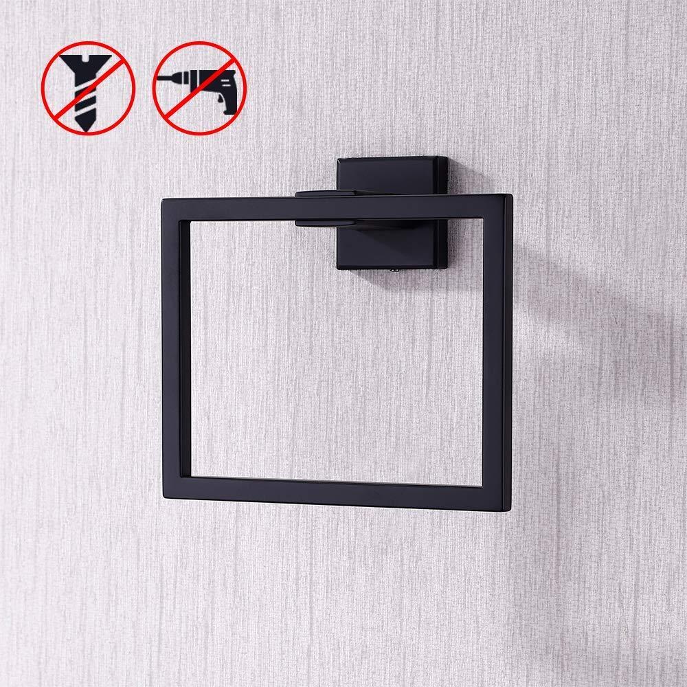 KES Towel Ring Bathroom Shower Adhesive Hand Towel Holder Hanger SUS304 Stainless Steel Modern Square Style Wall Mount Matte Black, A2480DG-BK