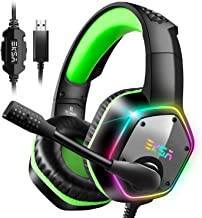 EKSA 7.1 Surround Sound Gaming Headset, PS4 USB Headphones with Noise Canceling Mic & RGB Light, Compatible with PC, PS4 Console, Laptop (Green)