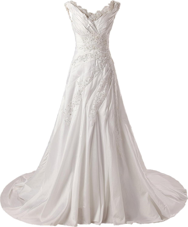 Onlybridal Women's Wedding Dresses Taffet Embroidery Beadings Lace VNeck Wedding Dress Sleeveless Bridal Dress