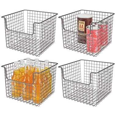 mDesign Metal Wire Open Front Organizer Basket for Kitchen Pantry, Cabinet, Shelf - Holds Canned Goods, Baking Supplies, Boxed Food Mixes, Fruits, Vegetables, Snacks - 10  Wide, 4 Pack - Graphite Gray