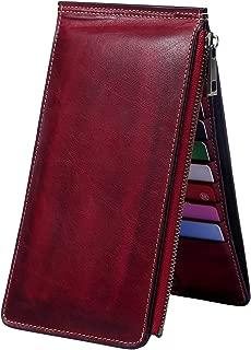Womens Wallet RFID Blocking Bifold Genuine Leather Multi Card Organizer Wallet with Zipper Pocket