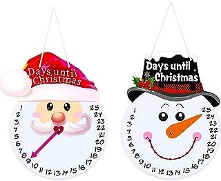 Christmas Snowman Advent Calendar Snowman Calendar Red Plaid Decoration Santa Claus for Indoor/Outdoor Holidays, Christmas Door Hanger Sign Days Until Christmas Countdown Christmas Wall Decoration
