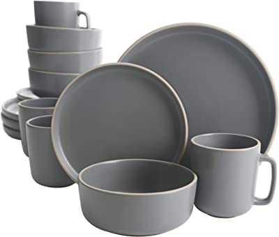 Gibson Home Zuma 16 Piece Round Kitchen Dishes, Plates, Bowls, Mugs Dinnerware Sets, Service for Four (16pcs), Grey