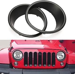 MOEBULB Matte Black Headlight Bezels Cover Guard for 2007-2017 Jeep Wrangler JK & Unlimited - 1 Pair