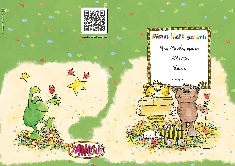 24 lustige JANOSCH-Schulhefte A4, »Geheimnisvolles Geschenk«, Lineatur 27, Frühlingsgrün, personalisierbar, 32 Seiten B0784SXV3Y   Moderne und stilvolle Mode