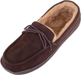 Absolute Footwear Zapatillas de estilo mocasín para hombre con forro polar y diseño de cordones