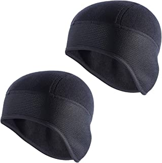 TAGVO Skull Cap, Winter Fleece Running Beanie Headwear with Ear Covers, Helmet Liner for Adults Women and Men Elastic Size Universal