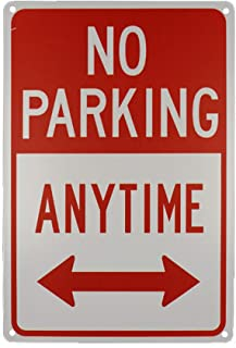 Monifith No Parking Anytime with Arrows Industrial Warning Signs Red Metal Tin Sign 8X12 Inch