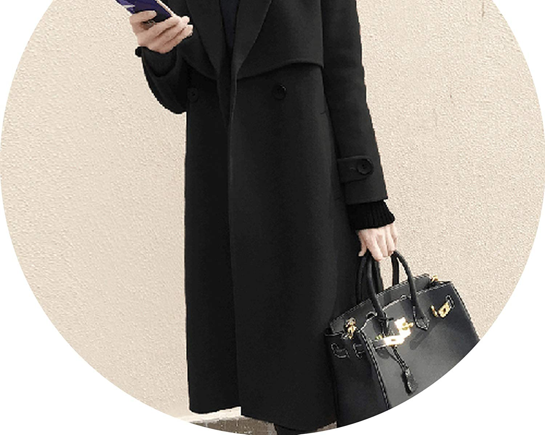 Women Woolen Coats Winter Jackets Elegant Wool Blends Trench Coat Outwear A218