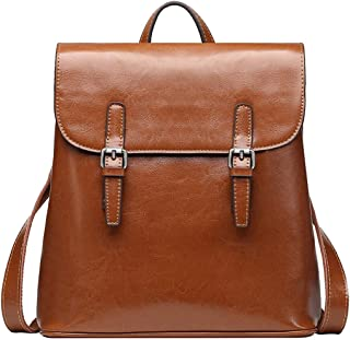 Women's Casual Leather Backpack Daypack for Ladies (Brown)