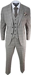 Mens Brown Tweed Check 3 Piece Suit Vintage Classic 1920s Fit