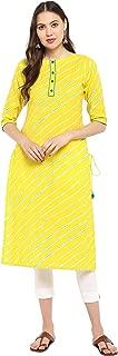 Janasya Women's Yellow Pure Cotton Kurta With Pant